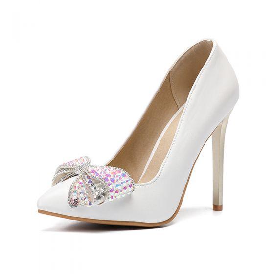Fabuleux Ivoire Chaussure De Mariée 2020 Faux Diamant Noeud 11 cm Talons Aiguilles À Bout Pointu Mariage Escarpins