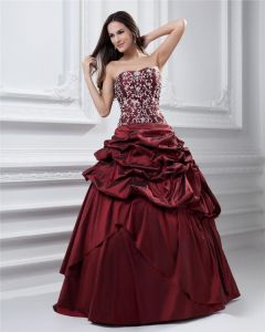 Ball Gown Strapless Ruffle Beading Embroidery Taffeta Floor Length Quinceanera Prom Dress