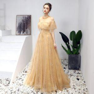 Chic / Beautiful Gold Prom Dresses 2019 A-Line / Princess Scoop Neck Sequins Crystal Short Sleeve Backless Floor-Length / Long Formal Dresses