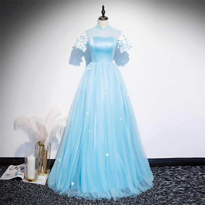 Chinese style Sky Blue See-through Evening Dresses  2020 A-Line / Princess High Neck Short Sleeve Appliques Lace Rhinestone Floor-Length / Long Ruffle Backless Formal Dresses