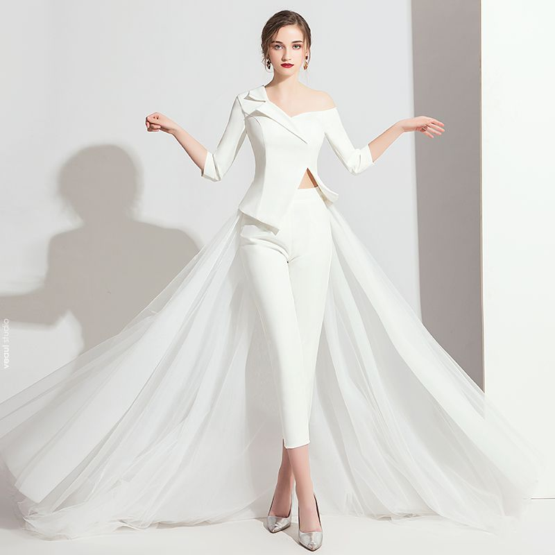 Modern / Fashion White Jumpsuit 2019 One-Shoulder 3/4 Sleeve Sweep Train Backless Evening Dresses