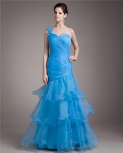 One Shoulder Floor Length Ruffles Pleated Organza Women Mermaid Prom Dress