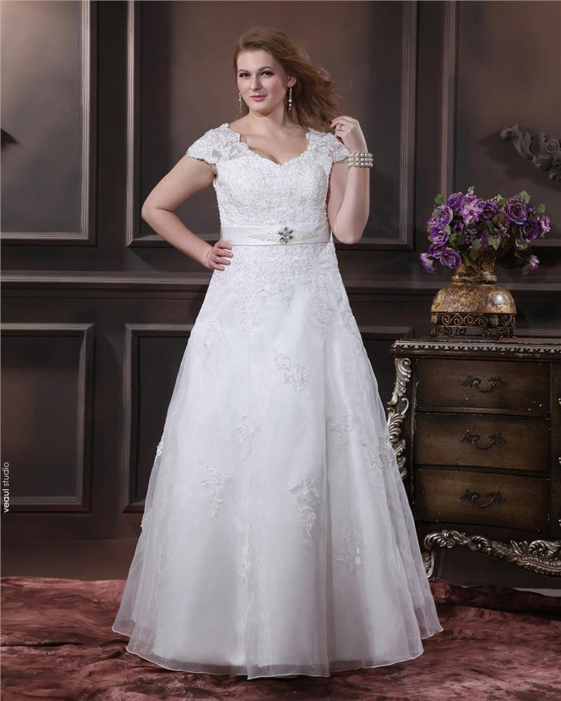 Lace V-Neck Beading Empire Chapel Train Plus Size Wedding Dresses