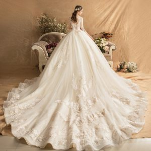 Luxury / Gorgeous Champagne Wedding Dresses 2019 Ball Gown Scoop Neck Beading Crystal Tassel Sequins Lace Flower 3/4 Sleeve Backless Royal Train