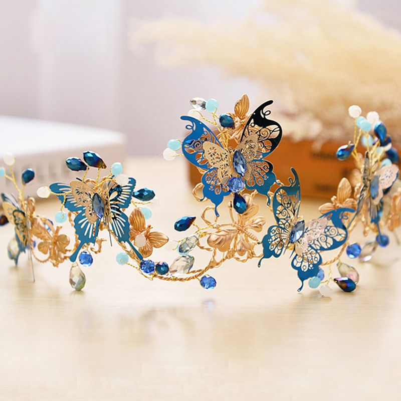 Chic / Beautiful Royal Blue Bridal Jewelry 2017 Metal Butterfly Beading Rhinestone Headpieces Wedding Prom Accessories