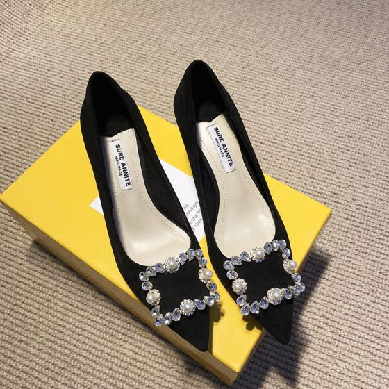 Chic / Beautiful Black Casual Suede Pumps 2020 Rhinestone 5 cm Stiletto Heels Pointed Toe Pumps