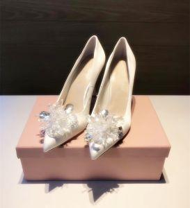 Mooie / Prachtige Assepoester Ivoor Bruidsschoenen 2019 Kristal 10 cm Naaldhakken / Stiletto Spitse Neus Huwelijk Pumps