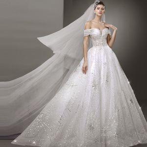 Bling Bling White Wedding Dresses 2019 A-Line / Princess Off-The-Shoulder Short Sleeve Backless Glitter Tulle Sweep Train