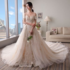 Chic / Beautiful Champagne Wedding Dresses 2018 A-Line / Princess Off-The-Shoulder Short Sleeve Backless Appliques Lace Pearl Beading Cathedral Train Ruffle