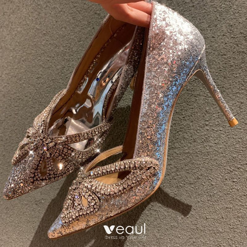 Sparkly Silver Wedding Shoes 2019 Wedding Leather Rhinestone Butterfly Sequins 8 cm Stiletto Heels Pointed Toe Pumps