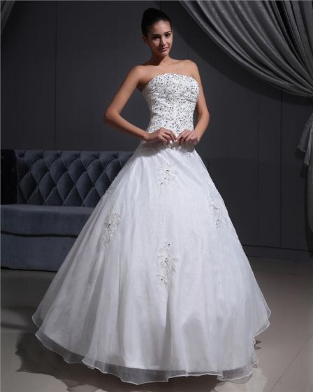 Satin Organza Applique Beads Strapless Floor Length Wedding Dresses