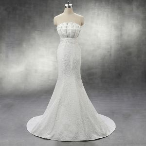 Chic / Beautiful Church Hall Wedding Dresses 2017 Lace Sash Rhinestone Pearl Backless Strapless Sleeveless Chapel Train White Trumpet / Mermaid