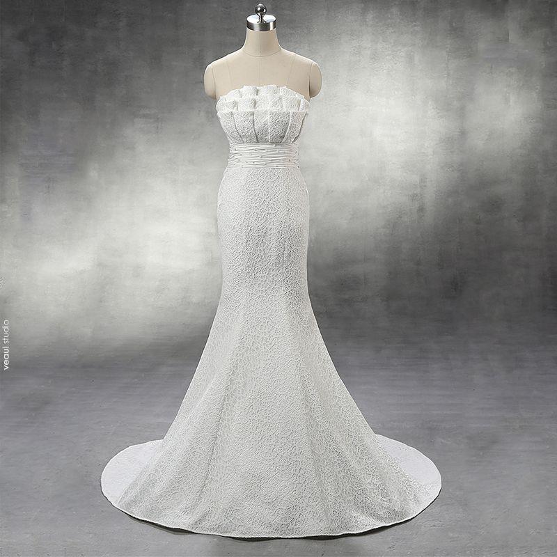 Chic / Beautiful Church Hall Wedding Dresses 2017 Lace Sash Rhinestone Pearl Backless Strapless Sleeveless Chapel Train White Trumpet / Mermaid