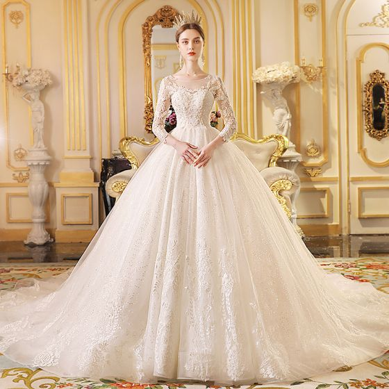 Best Ivory See-through Wedding Dresses 2019 Ball Gown Scoop Neck 3/4 Sleeve Backless Appliques Lace Glitter Cathedral Train Ruffle