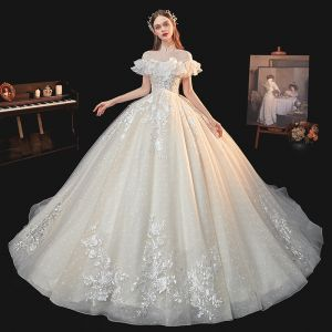 Vintage / Retro Champagne Bridal Wedding Dresses 2020 Ball Gown See-through High Neck Short Sleeve Backless Glitter Tulle Appliques Lace Beading Chapel Train Ruffle