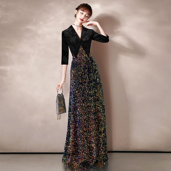 Charming Black Evening Dresses  2020 A-Line / Princess Suede Deep V-Neck Multi-Colors Sequins 1/2 Sleeves Floor-Length / Long Formal Dresses