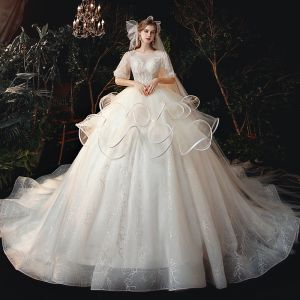 Victorian Style Champagne Bridal Wedding Dresses 2020 Ball Gown See-through Scoop Neck Puffy 1/2 Sleeves Backless Beading Glitter Tulle Cathedral Train Ruffle