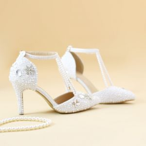 Charming White Wedding Shoes 2019 Pearl Ankle Strap T-Strap Rhinestone 8 cm Stiletto Heels Pointed Toe Wedding High Heels