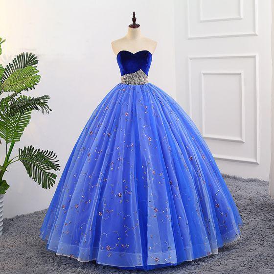 Elegantes Azul Real Quinceañera Vestidos de gala 2018 Ball Gown Bordado Perla Suede Sweetheart Sin Espalda Sin Mangas Largos Vestidos Formales