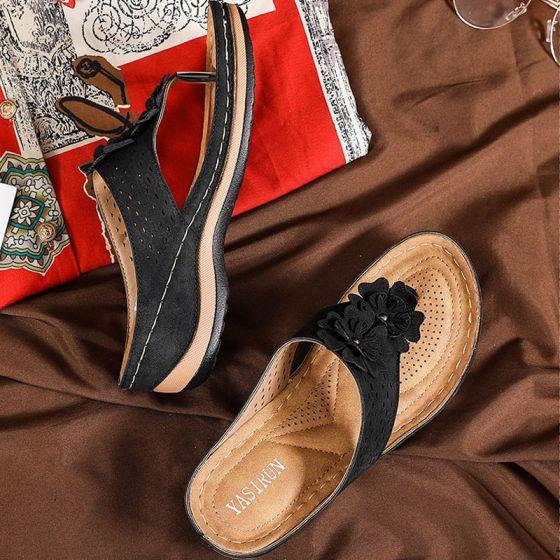 Modest / Simple Black Summer Beach Slipper & Flip flops 2020 Open / Peep Toe Flat Womens Shoes