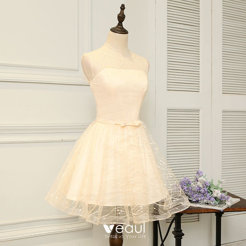 Chic / Beautiful Graduation Dresses 2017 Grey Short A-Line / Princess Scoop Neck Sleeveless Backless Bow Sash Formal Dresses