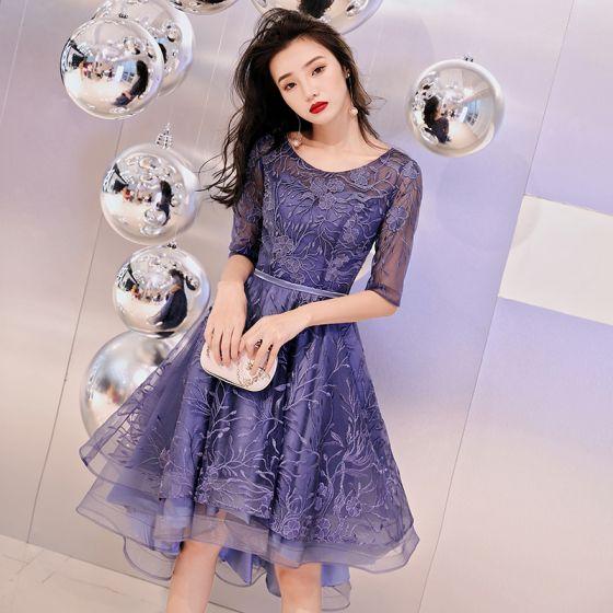 Elegant Purple Pierced Cocktail Dresses 2019 A Line Princess Scoop Neck 12 Sleeves Appliques Lace Asymmetrical Ruffle Formal Dresses