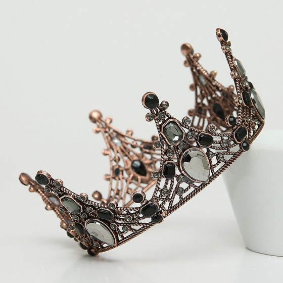Vintage / Retro Baroque Black Tiara 2020 Metal Rhinestone Bridal Hair Accessories