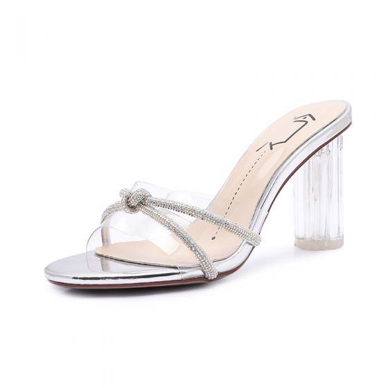 Sexy Transparent Sølv Krystall Sandaler Dame 2020 Gateklær Rhinestone 8 cm Tykk Hæler Peep Toe Sandaler