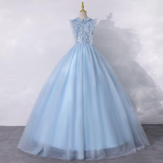 Vintage Himmelblau Tanzen Ballkleider 2020 A Linie Rundhalsausschnitt Ärmellos Applikationen Blumen Perle Lange Rüschen Festliche Kleider