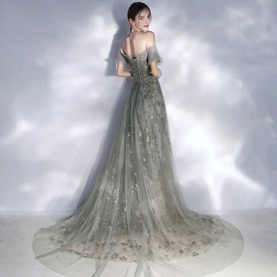 Elegant Grey Evening Dresses  2020 A-Line / Princess Off-The-Shoulder Puffy Short Sleeve Beading Appliques Sequins Court Train Ruffle Backless Formal Dresses