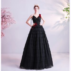 Classy Black Ruffle Prom Dresses 2020 A-Line / Princess Spaghetti Straps Appliques Sleeveless Backless Floor-Length / Long Formal Dresses