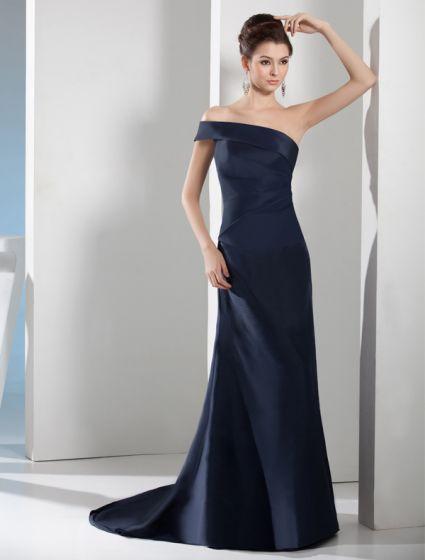 2015 Elegante Una Línea De Un Hombro Fuera Del Hombro Vestidos De Noche De Color Azul Marino
