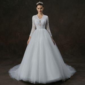Elegant White Pierced Wedding Dresses 2019 A-Line / Princess V-Neck Long Sleeve Beading Pearl Glitter Tulle Chapel Train Ruffle
