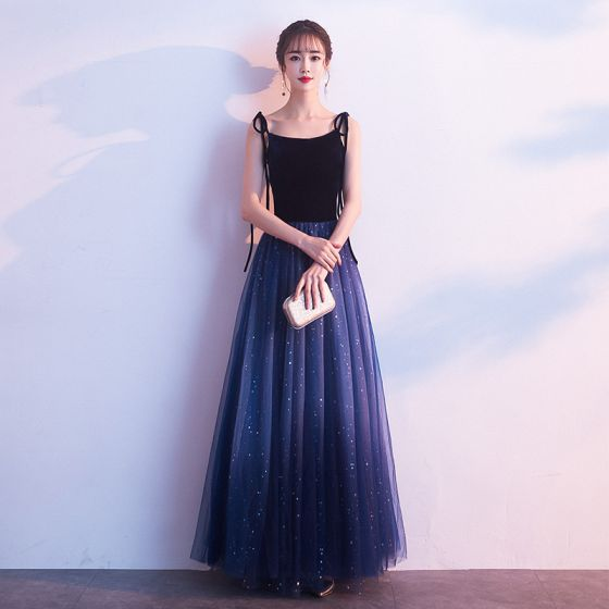 Charming Navy Blue Evening Dresses  2019 A-Line / Princess Suede Spaghetti Straps Bow Star Sleeveless Backless Floor-Length / Long Formal Dresses
