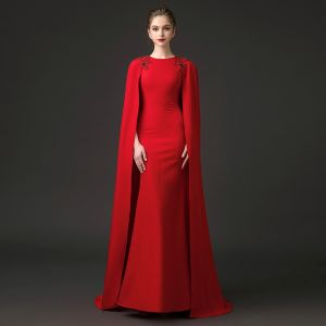 Modest / Simple Red Evening Dresses  2018 Trumpet / Mermaid Scoop Neck Sleeveless Beading Watteau Train Formal Dresses