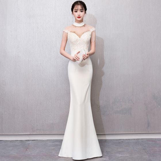 cf9be339c4 Chinese style Champagne See-through Evening Dresses 2018 Trumpet   Mermaid  High Neck Sleeveless Appliques Lace Beading Tassel Floor-Length ...