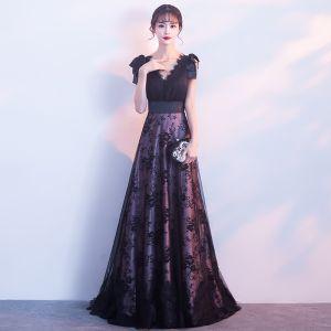 Hermoso Negro Vestidos de noche 2017 A-Line / Princess V-Cuello Sin Mangas Hombros mariposa Apliques Con Encaje Colas De Barrido Sin Espalda Vestidos Formales