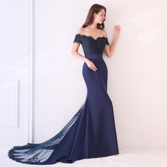 Elegant Navy Blue Evening Dresses  2019 Trumpet / Mermaid Off-The-Shoulder Short Sleeve Appliques Formal Dresses Backless Beading Lace Ruffle Court Train Charmeuse