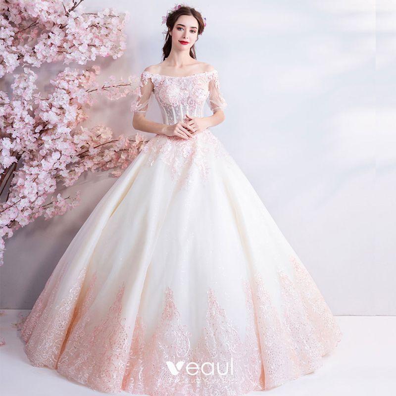Niedrogie Szampan Różowy Perłowy Długie Białe Suknie ślubne 2018