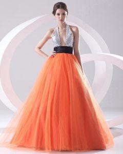 Mode Organza Paillette Geplooide Halter Mouwloze Vloer Lengte Galajurken