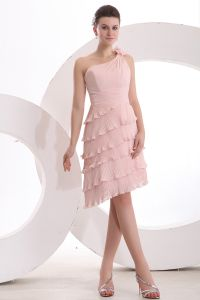 2015 Fashion A-line One-shoulder Ruffle Pink Cocktail Dress