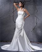 Elegant Satin Pleated Applique Halter Floor Length Sheath Wedding Dress