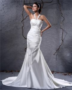 Elegant Satin Pleated Applique Halter Floor Length Sheath Wedding Dress