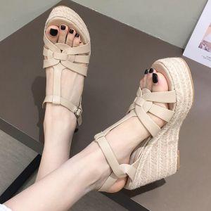 Affordable Beige Casual Womens Sandals 2020 Ankle Strap 10 cm Platform Open / Peep Toe Sandals