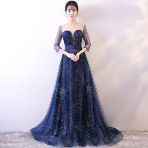 Chic / Beautiful Navy Blue Starry Sky Evening Dresses  2018 A-Line / Princess Scoop Neck 3/4 Sleeve Rhinestone Sash Sweep Train Backless Pierced Formal Dresses
