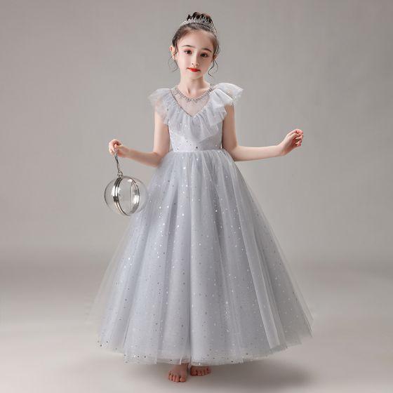 Hermoso Gris Cumpleaños Vestidos para niñas 2020 Ball Gown Transparentes Scoop Escote Sin Mangas Rebordear Lentejuelas Largos Ruffle