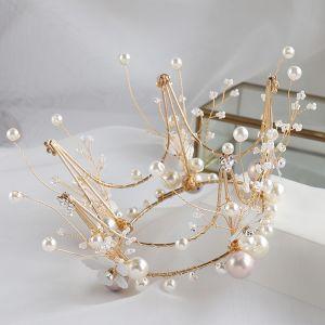 Mooie / Prachtige Goud Bruidssieraden 2020 Legering Kralen Parel Oorbellen Tiara Huwelijk Accessoires