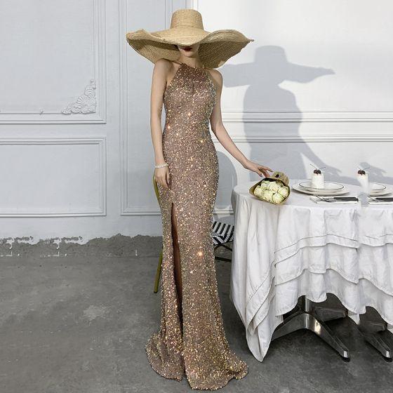 Błyszczące Złote Syrena / Rozkloszowane Sukienki Wieczorowe 2021 Wycięciem Cekiny Bez Rękawów Długie Wieczorowe Sukienki Wizytowe