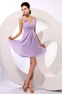 2015 Graceful Chiffon Elastic Woven Satin V-neck Zipper Bridesmaid Dresses