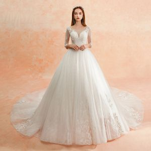Best Ivory See-through Wedding Dresses 2019 A-Line / Princess Scoop Neck 3/4 Sleeve Backless Appliques Lace Beading Cathedral Train Ruffle